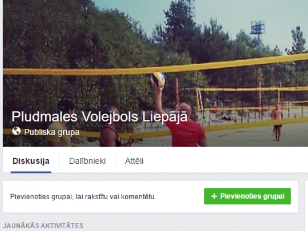 Pludmales Volejbola grupa Facebook